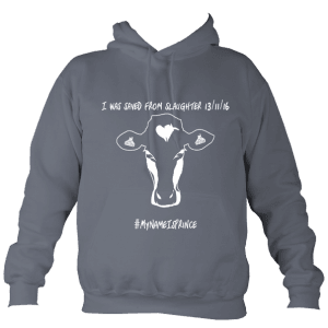 Grey AWD vegan college hoodie with cow design