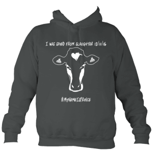 Charcoal and white children's AWD vegan college hoodie with cow design
