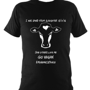 black children's go vegan t-shirt with cow design