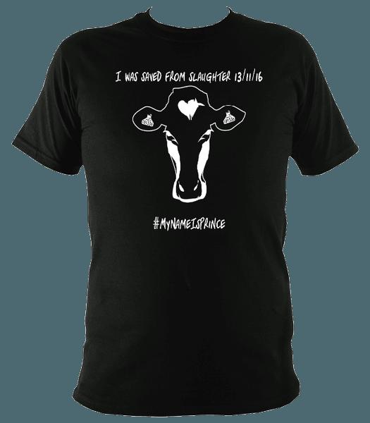 black unisex vegan t-shirt with cow head design