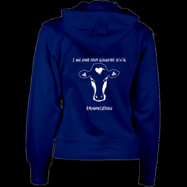 Navy women's vegan zip hoodie with cow design