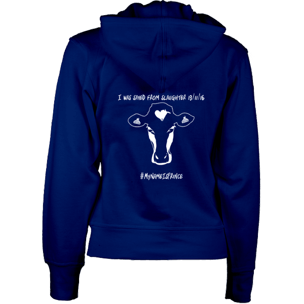 Navy women's vegan zip hoodie with cow design