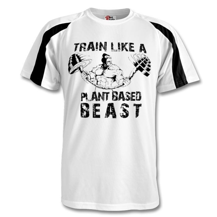 contrast sport shirt with large, centrally-placed 'train like a plant-based beast' slogan