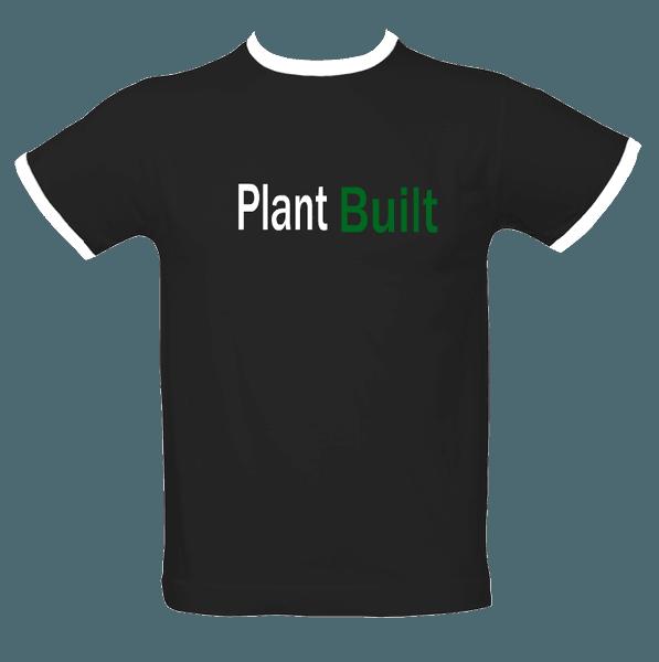 ringer t-shirt with 'plant built' slogan