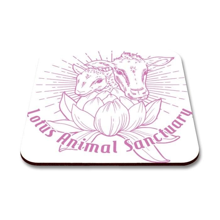 coaster with lotus animal sanctuary logo