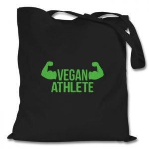 tote bag with 'vegan athlete' slogan
