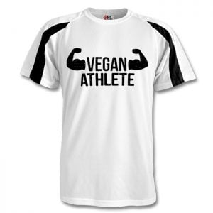 contrast sport shirt with large, centrally-placed 'vegan athlete' slogan